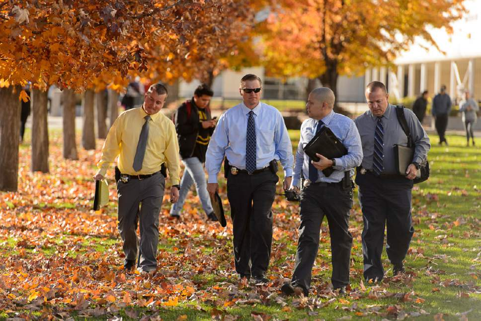 Trent Nelson  |  The Salt Lake Tribune Law enforcement on the scene after a 16-year-old boy allegedly stabbed several other male students before reportedly turning his knife on himself at Mountain View High School in Orem Tuesday November 15, 2016.