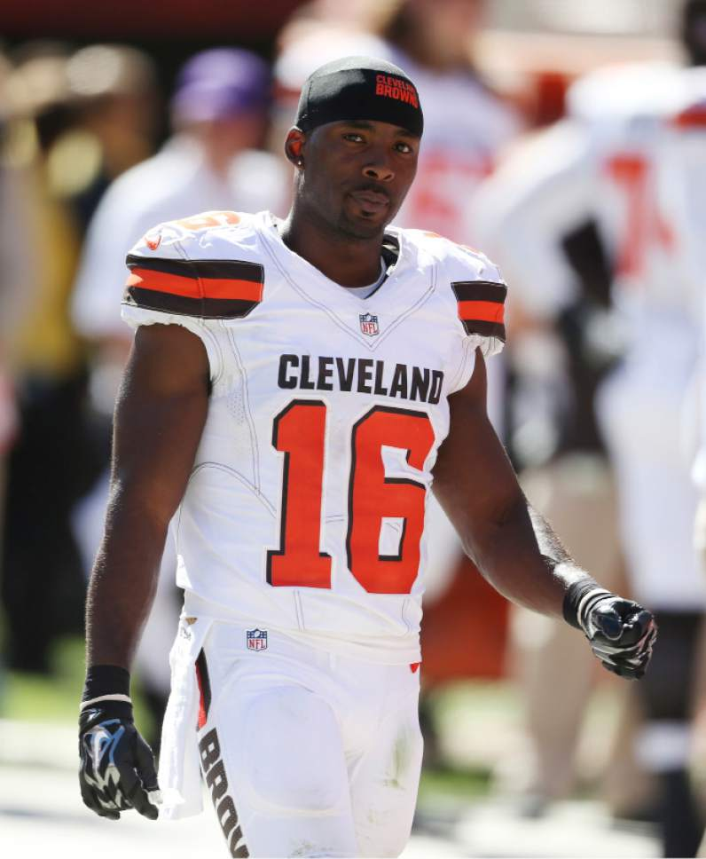 FILE - In this Sept. 20, 2015, file photo, Cleveland Browns wide receiver Andrew Hawkins is shown during an NFL football game against the Tennessee Titans, in Cleveland. In the midst of a winless season, Cleveland Browns wide receiver Andrew Hawkins and quarterback Josh McCown were part of a group of NFL players who spent a day in Washington meeting with Congressional leaders on police brutality and ways for law enforcement to better serve their communities.(AP Photo/Ron Schwane, File)
