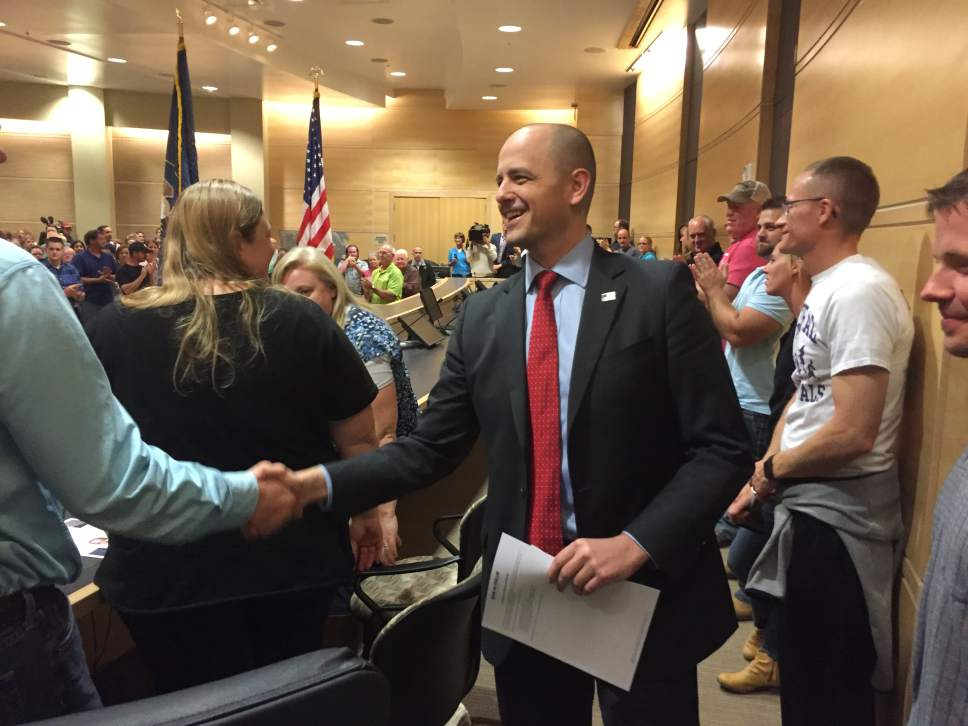 Matt Canham  |  Tribune file photo Evan McMullin, independent presidential candidate, speaks before 400 voters at the Syracuse city hall on Thursday.