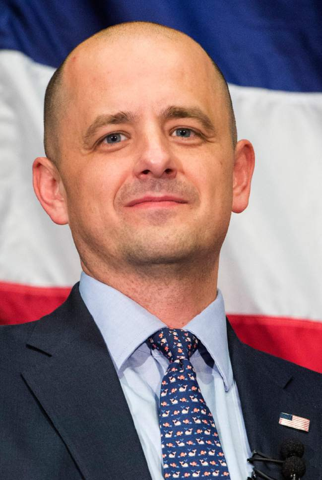 Rick Egan  |  The Salt Lake Tribune Independent presidential candidate Evan McMullin speaks at his election eve rally at Utah Valley Convention Center in Provo on Monday, Nov. 7, 2016.