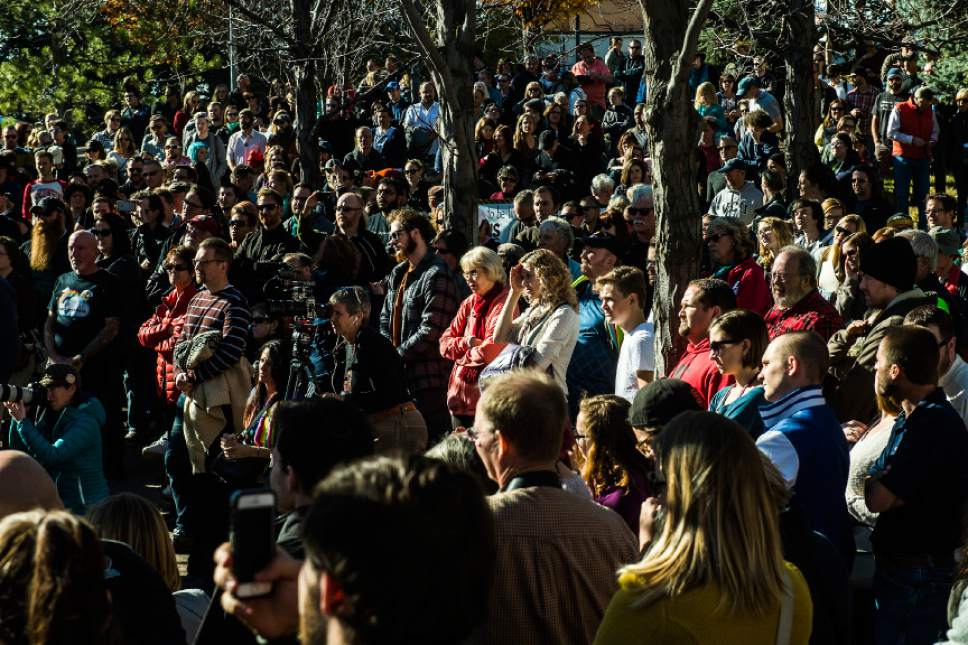 Chris Detrick  |  The Salt Lake Tribune Hundreds of people gather during a mass resignation from The Church of Jesus Christ of Latter-day Saints in City Creek Park on Saturday, Nov. 14, 2015. Thousands of people gathered to protest their displeasure with recent policy changes targeting the children of gay and lesbian couples.