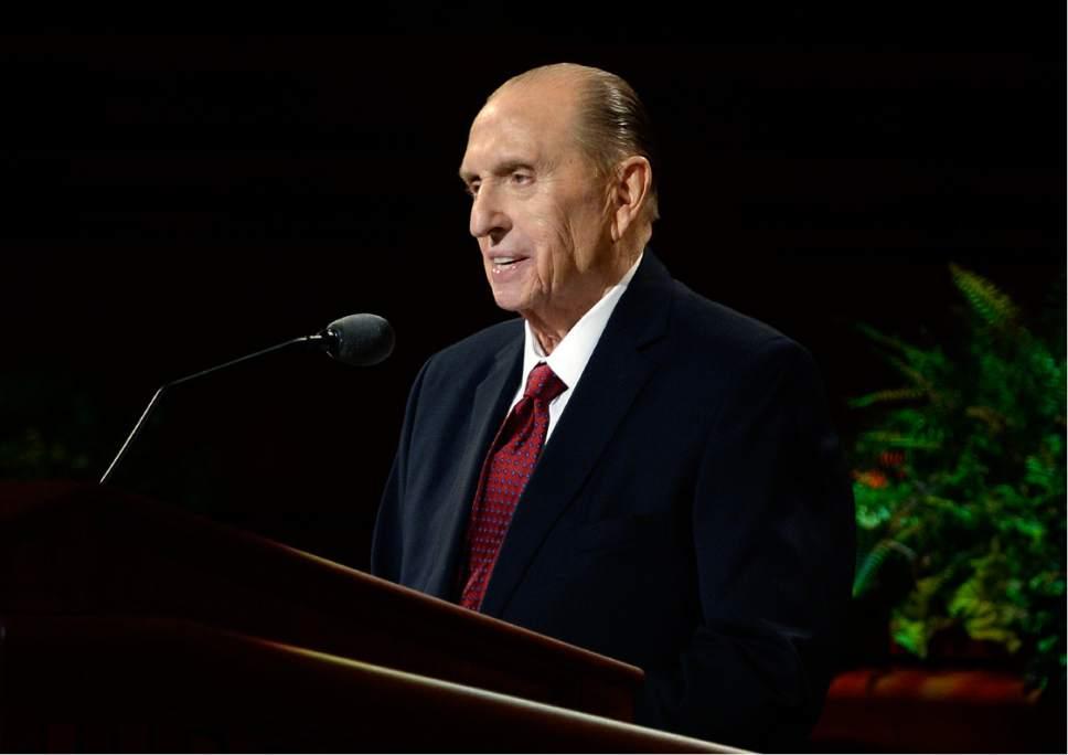 Scott Sommerdorf   |  The Salt Lake Tribune   President Thomas S. Monson speaks at the 186th Semiannual General Conference of the LDS church, Sunday, October 2, 2016.