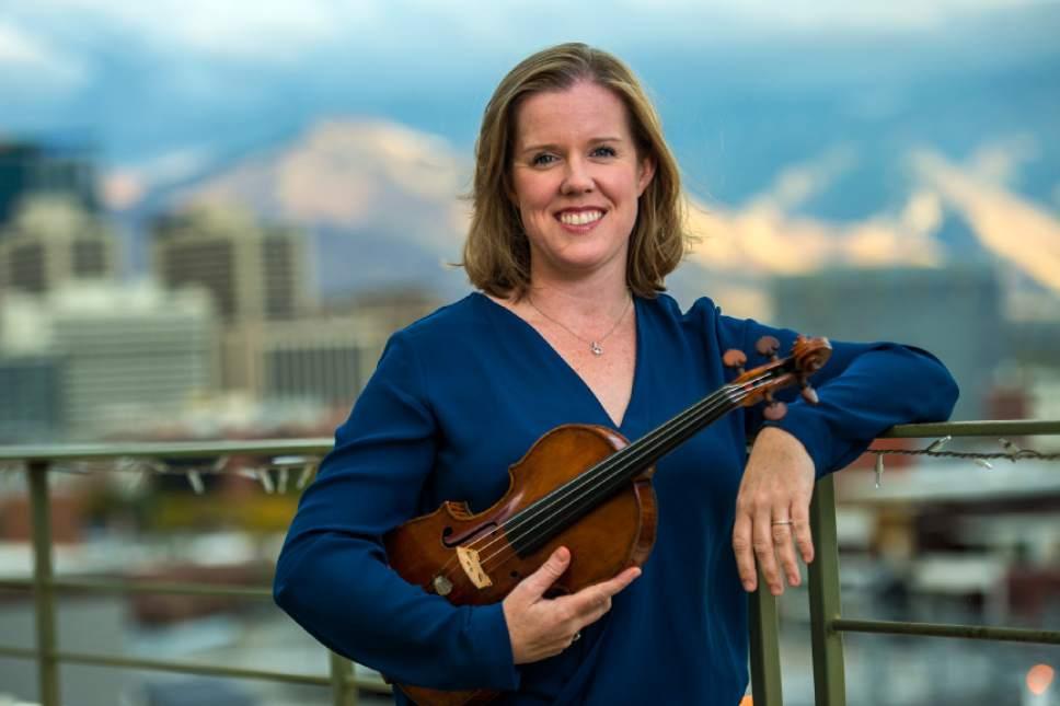 Chris Detrick  |  The Salt Lake Tribune Utah Symphony Concertmaster Madeline Adkins poses for a portrait at The Salt Lake Tribune.