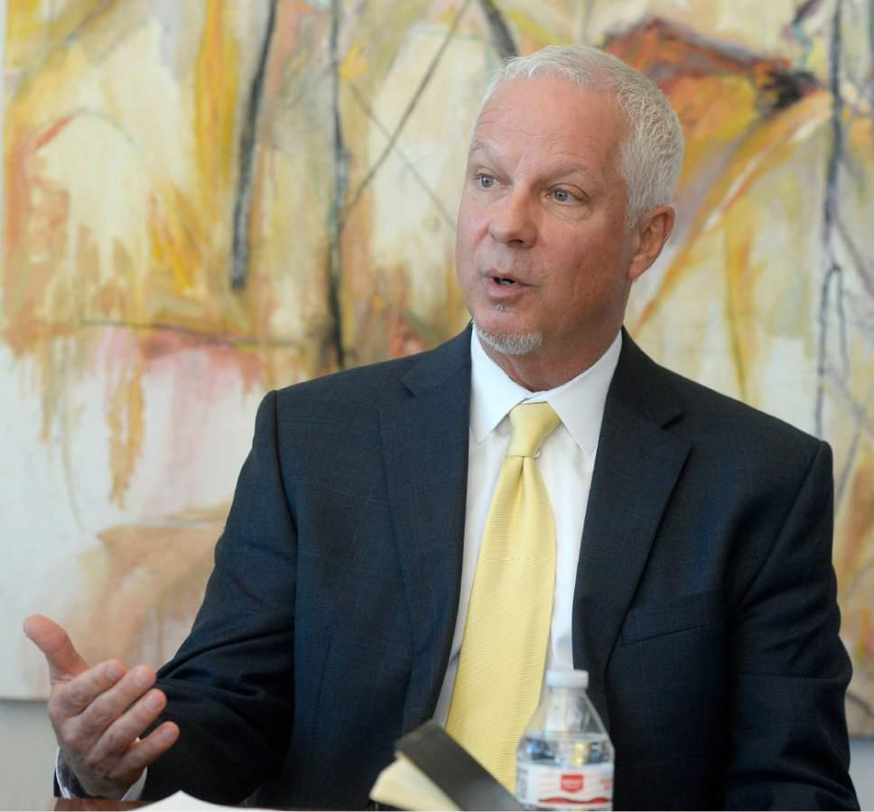 Al Hartmann     The Salt Lake Tribune Utah Transit Authority President and CEO Jerry Benson speaks with the Salt Lake Tribune editorial board Wednesday Nov. 2.
