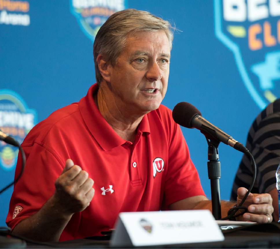 Rick Egan     The Salt Lake Tribune  Chris Hill, Athletic Director, University of Utah answer questions from reporters about the basketball showcase featuring BYU, Utah, USU, and Weber State, at Vivint Smart Home Arena, Thursday, July 21, 2016.