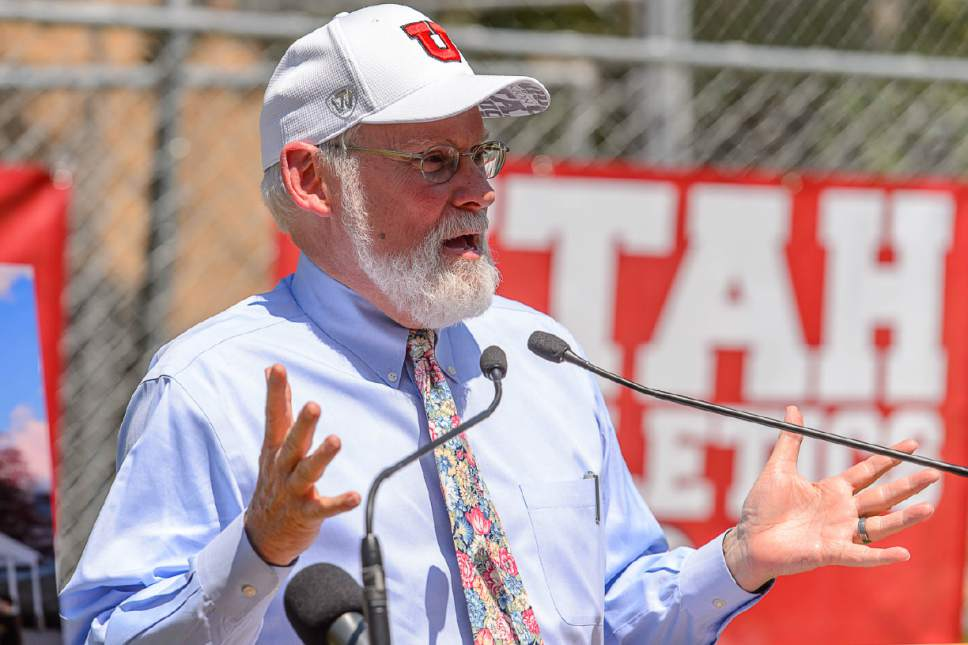 Trent Nelson     The Salt Lake Tribune University of Utah President David Pershing speaks at the groundbreaking for the school's new ski team building, Wednesday June 22, 2016. The lead donor of the project is Spence Eccles, who was a ski team standout himself back in the 1960s.