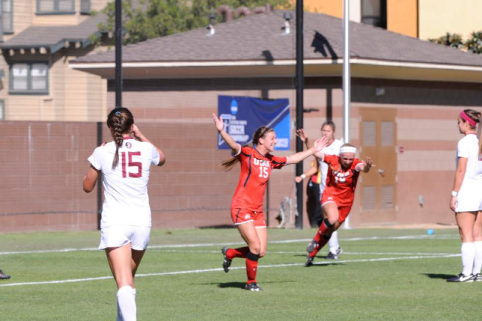 |  courtesy Utah Athletics  Junior Natalie Vukic (15) celebrates her first-half goal against Florida State to take a 1-0 lead. The Utes beat the Seminoles on Nov. 18, 2016, in Los Angeles to advance to the third round of the NCAA Tournament for the first time in program history.