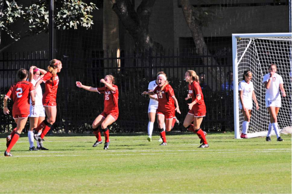 |  courtesy Utah Athletics  Teammates rush to embrace freshman Haylee Cacciacarne (17) after her go-ahead header in the 87th minute against No. 3 seed Florida State on Nov. 18, 2016 in Los Angeles. The goal proved to be the difference as Utah (13-3-5) went on to win 2-1 and advance to the Sweet 16 of the NCAA soccer tournament.