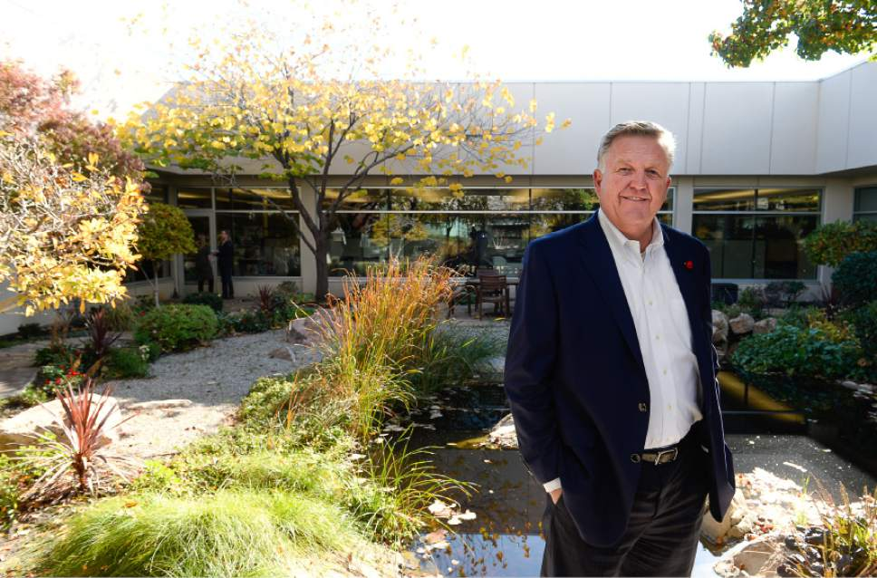 Francisco Kjolseth | The Salt Lake Tribune CEO Bryant Henrie of Prestige Financial in Salt Lake City, pictured in one of two open courtyards at the firm's offices. The large credit financing company drew a top ranking amoung Utah's  large companies in terms of worker satisfaction.