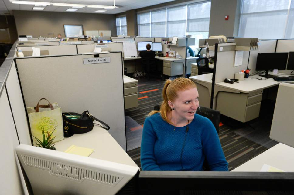 Francisco Kjolseth | The Salt Lake Tribune Maren Lords keeps busy at Prestige Financial, a large credit financing company in Salt Lake City, praised in a recent survey as a great place to work.
