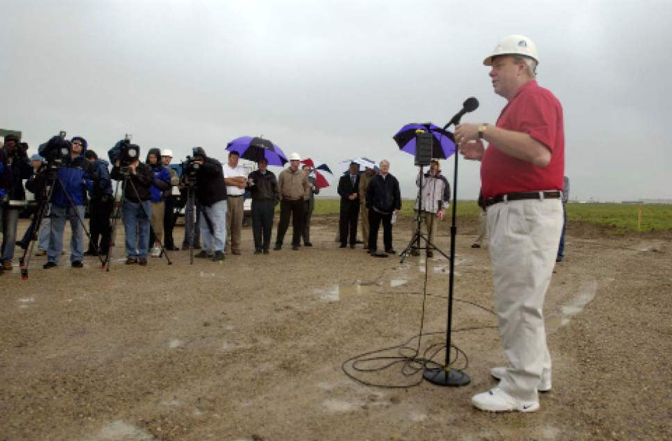 Trent Nelson  |  Tribune file photo The late Larry Miller, shown taking part in groundbreaking ceremonies for Miller Motorsports Park in Tooele County in 2005.