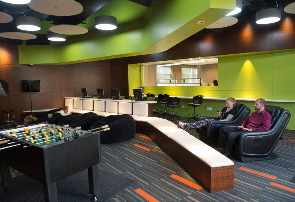 Rick Egan  |  The Salt Lake Tribune The break room for employees of Prestige Financial, includes foosball, beanbag chairs and massage chairs.