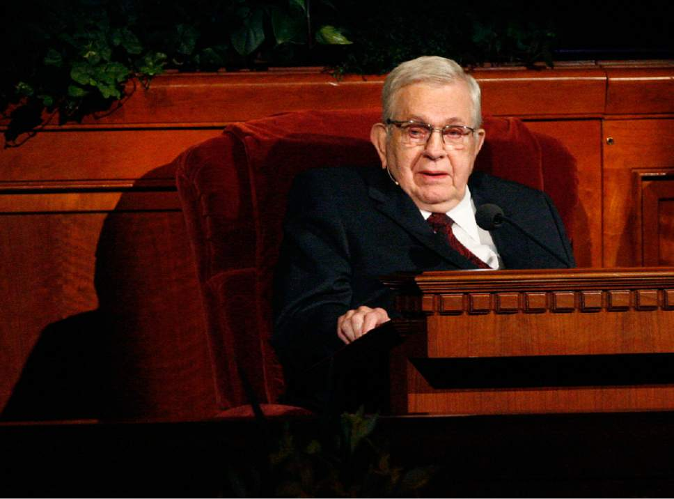 Scott Sommerdorf   |  The Salt Lake Tribune President Boyd K. Packer, of the Quorum of the Twelve, speaks from his chair at the 182nd annual General Conference of The Church of Jesus Christ of Latter-day Saints in 2012. Packer died July 3, 2015, at his home in Salt Lake City. He was 90.