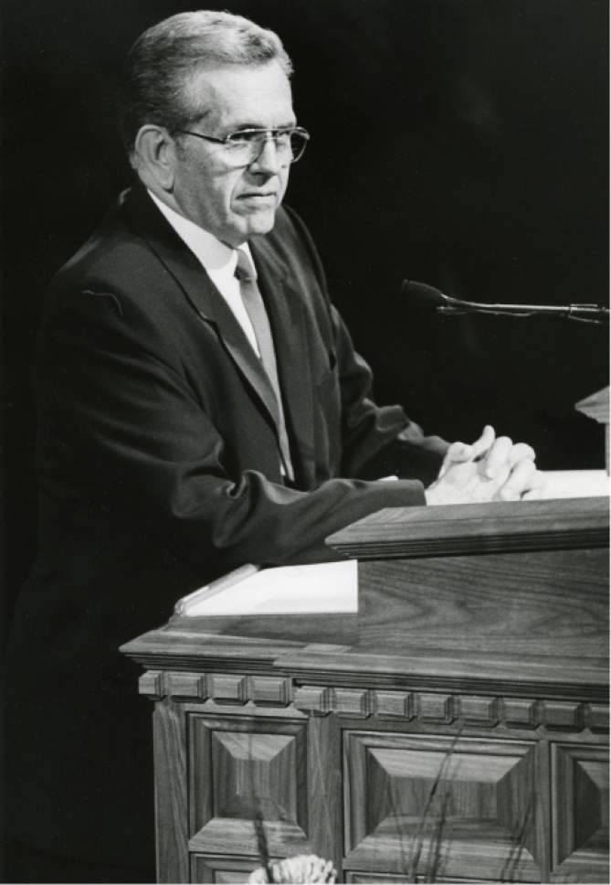 Tribune file photo   Boyd K. Packer speaks at General Conference.