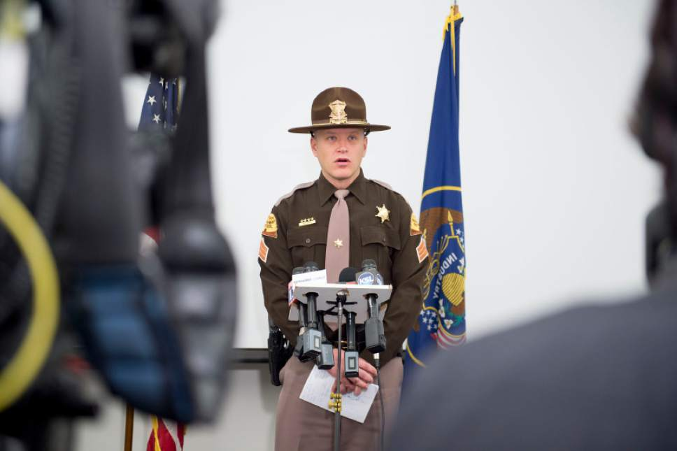 Jeremy Harmon  |  The Salt Lake Tribune  Sgt. Todd Royce, of the Utah Highway Patrol, addresses local media about the condition of Utah Highway Patrol Trooper Eric Ellsworth during a press conference on Saturday, November 19, 2016. Ellsworth s in critical condition after being hit by a car last night in Box Elder County.
