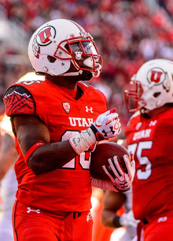 Trent Nelson  |  The Salt Lake Tribune Utah Utes running back Joe Williams (28) celebrates a touchdown as Utah hosts Oregon, NCAA football at Rice-Eccles Stadium in Salt Lake City, Saturday November 19, 2016.