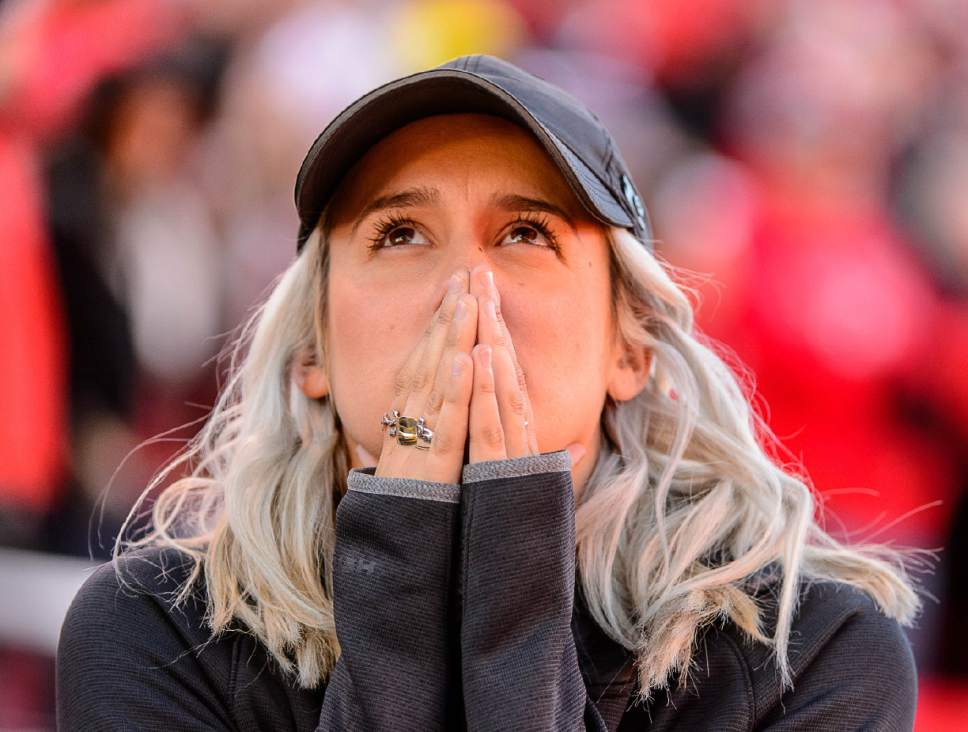 Trent Nelson  |  The Salt Lake Tribune A Utah fan waits for the instant replay decision on the game-winning touchdown as Utah hosts Oregon, NCAA football at Rice-Eccles Stadium in Salt Lake City, Saturday November 19, 2016.