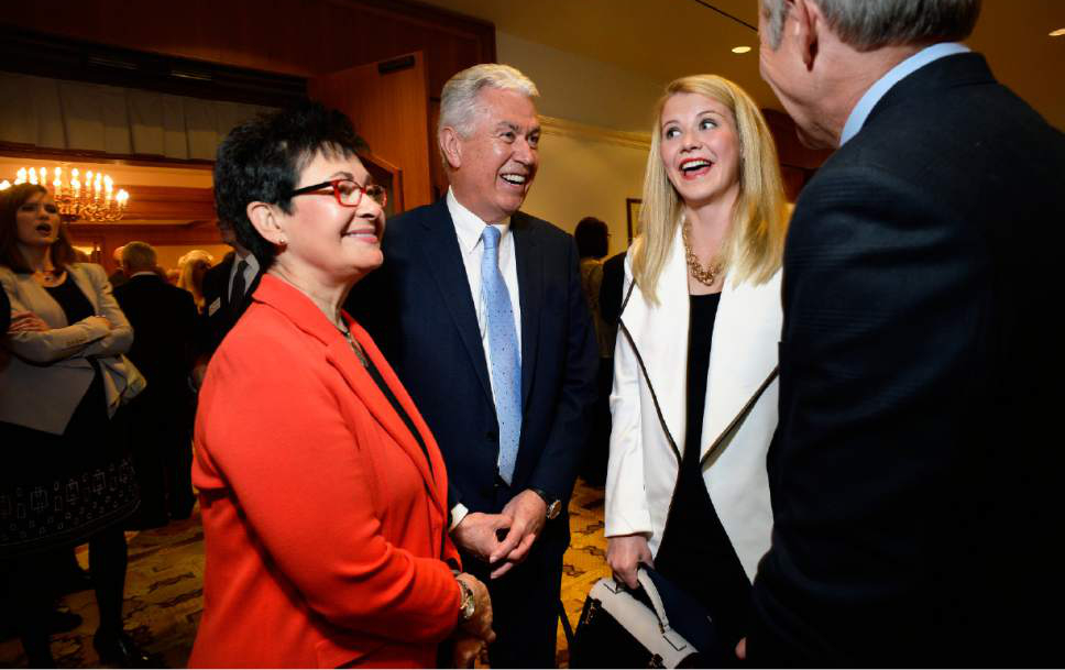 Scott Sommerdorf   |  The Salt Lake Tribune   Harriet Reich Uchtdorf, left, wife of LDS President Dieter F. Uchtdorf, center, speak with Elizabeth Smart and her father, Ed Smart at a reception prior to the Catholic Community Services of Utah Humanitarian Awards dinner at the Little America Hotel, Friday, November 4, 2016.