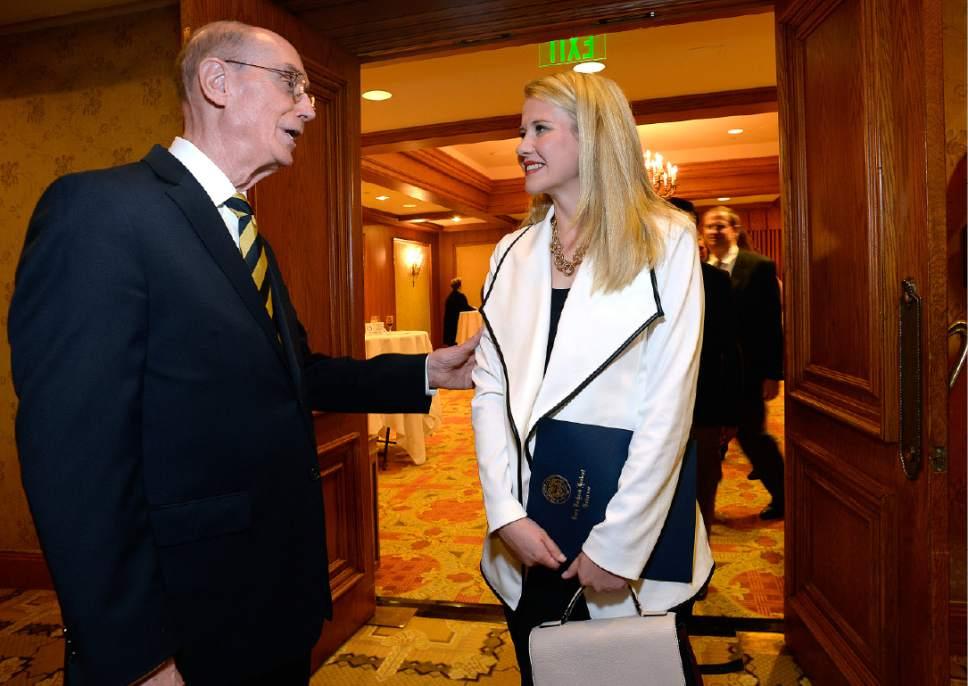 Scott Sommerdorf   |  The Salt Lake Tribune   LDS First Counselor Henry B. Eyring, speaks with Elizabeth Smart prior to the Catholic Community Services of Utah Humanitarian Awards dinner at the Little America Hotel, Friday, November 4, 2016.