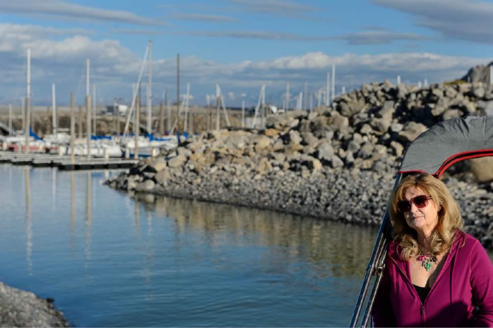 Trent Nelson     The Salt Lake Tribune Great Salt Lake Yacht Club commodore Janet Robins at the Great Salt Lake marina in February 2015.