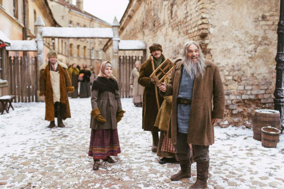 """Star John Rhys-Davies on location in Lithuania for the filming of """"Winter Thaw."""" Lukas Salina     BYUtv"""