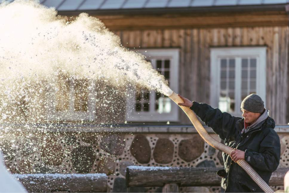 """Snow making on location in Lithuania for the filming of """"Winter Thaw."""" Lukas Salina     BYUtv"""