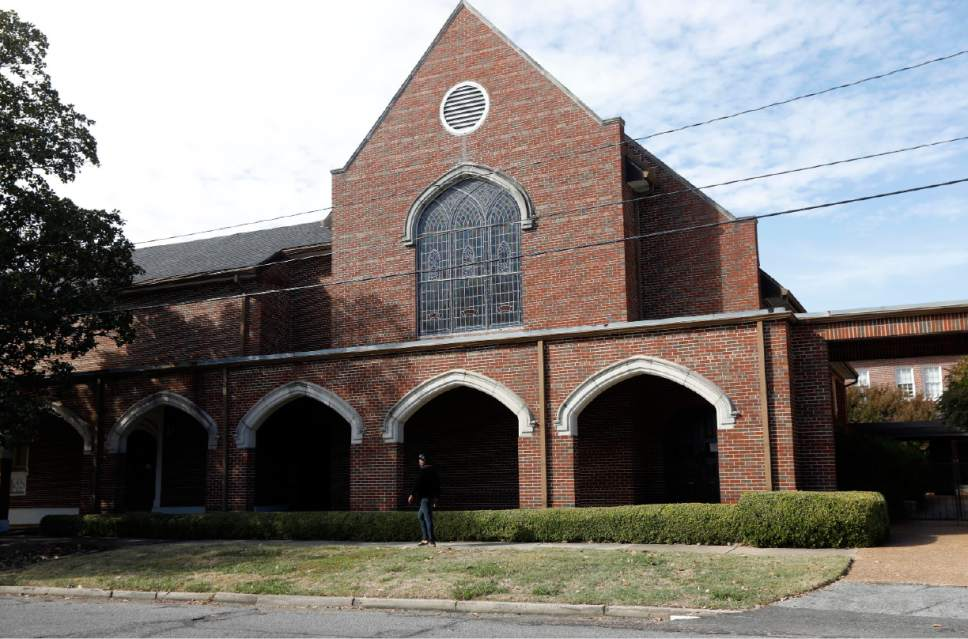 The chapel of First Baptist Church of Greenville, a predominately white church, appears in Greenville, Miss. on Tuesday, Nov. 22, 2016. The church is now the temporary home of the black Hopewell Missionary Baptist Church, which was burned and vandalized three weeks ago.  (AP Photo/Rogelio V. Solis)