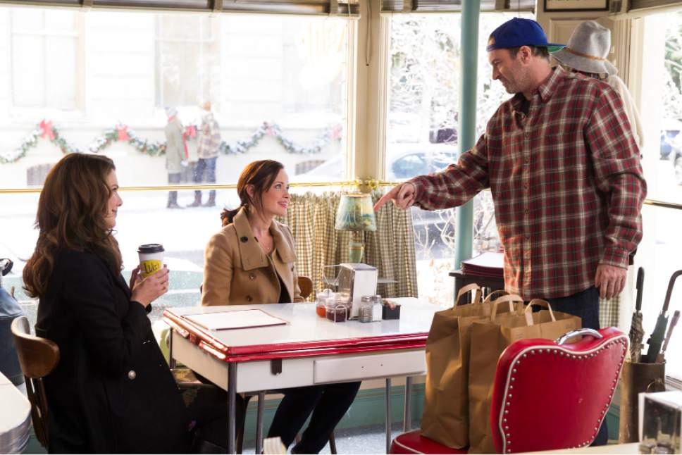 "Lauren Graham as Lorelei, Alexis Bledel as Rory, and Scott Patterson as Luke in ""Gilmore Girls: A Year in the Life."" Saeed Adyani  