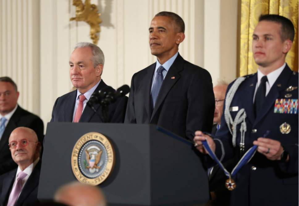 President Barack Obama presents the Presidential Medal of Freedom to Saturday Night Live producer and screenwriter Lorne Michaels during a ceremony in the East Room of the White House Tuesday, Nov. 22, 2016, in Washington.  (AP Photo/Manuel Balce Ceneta)
