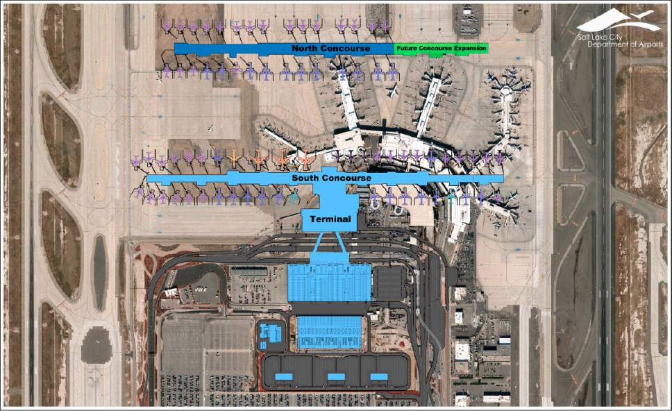 Courtesy image | Salt Lake City International Airport New plans for expansion of the Salt Lake City International Airport call for constructing a new north concourse, at the top of graphic, at the same time as a new south concourse is built. Both projects are scheduled for completion in 2020, with an additional cost of $740 million. The current weblike layout of gates will be eliminated in a design airport officials will improve efficiency and reduce delays.