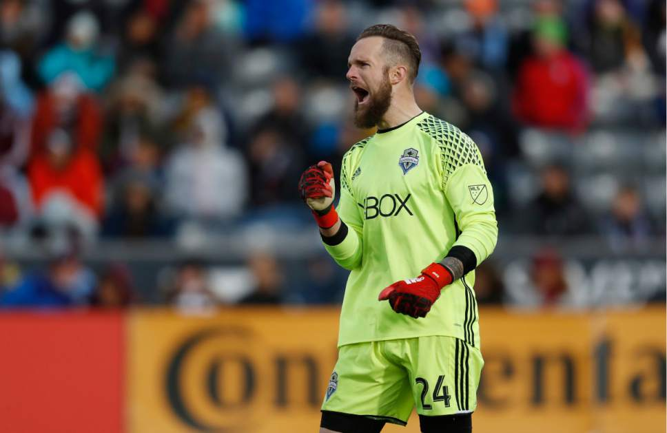 Seattle Sounders goalkeeper Stefan Frei reacts as time runs out in the second half of the second leg of an MLS Western Conference soccer finals game Sunday, Nov. 27, 2016, in Commerce City, Colo. Seattle won 1-0 to advance to the MLS championship game. (AP Photo/David Zalubowski)