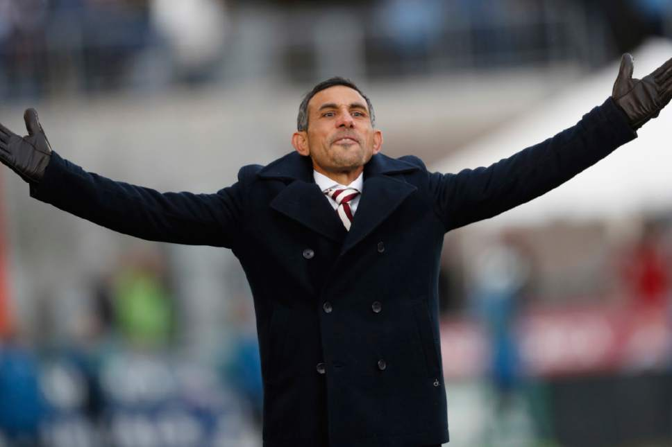 Colorado Rapids head coach Pablo Mastroeni argues a call while facing the Seattle Sounders in the second half of the second leg of an MLS Western Conference soccer finals game Sunday, Nov. 27, 2016, in Commerce City, Colo. Seattle won 1-0 to advance to the MLS championship game. (AP Photo/David Zalubowski)