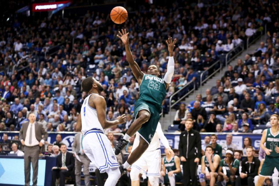 Utah Valley guard Brandon Randolph (23) shoots against BYU during an NCAA college basketball game Saturday, Nov. 26, 2016, in Provo, Utah. Utah Valley won 114-101. (Sammy Jo Hester/The Daily Herald via AP)