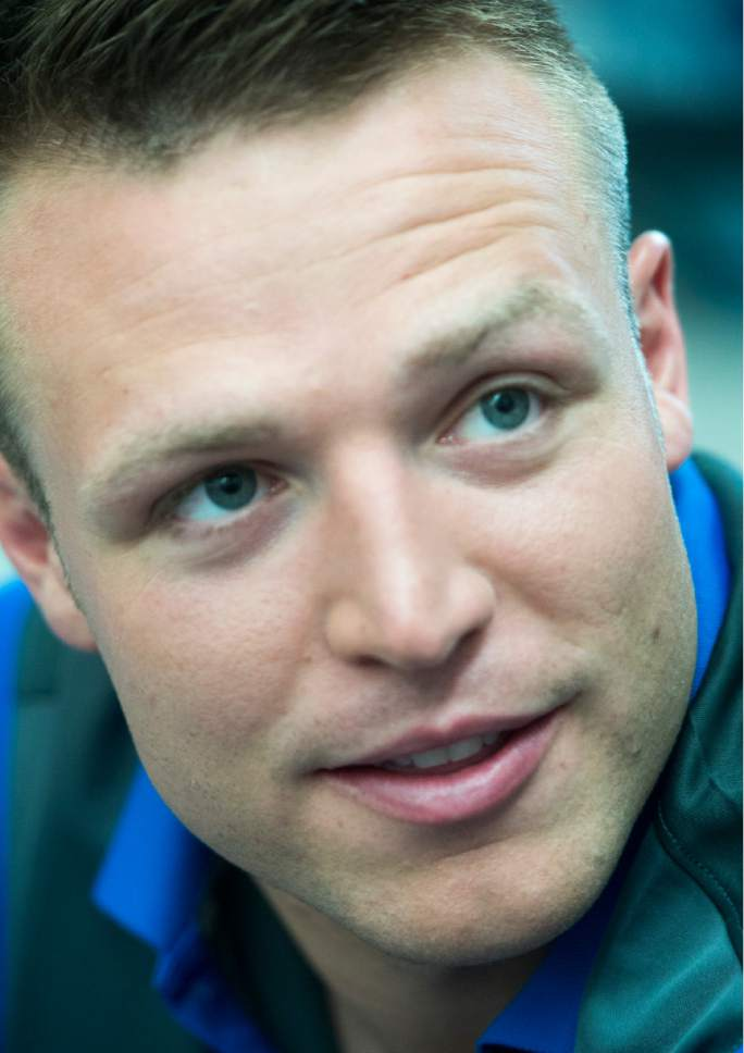 Rick Egan  |  The Salt Lake Tribune  Taysom Hill talks to reporters at the annual football media day at the Broadcasting Building,Thursday, June 30, 2016.