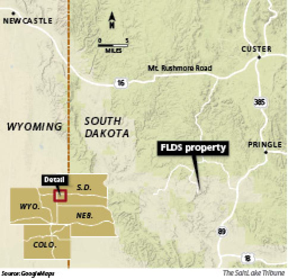 The FLDS property in South Dakota is southwest of Pringle
