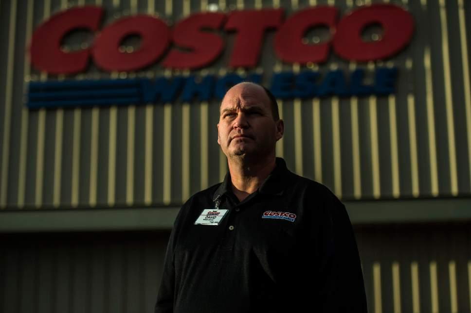 Chris Detrick  |  The Salt Lake Tribune David Cichoski poses for a portrait before starting his shift at Costco in Lehi Thursday November 17, 2016.
