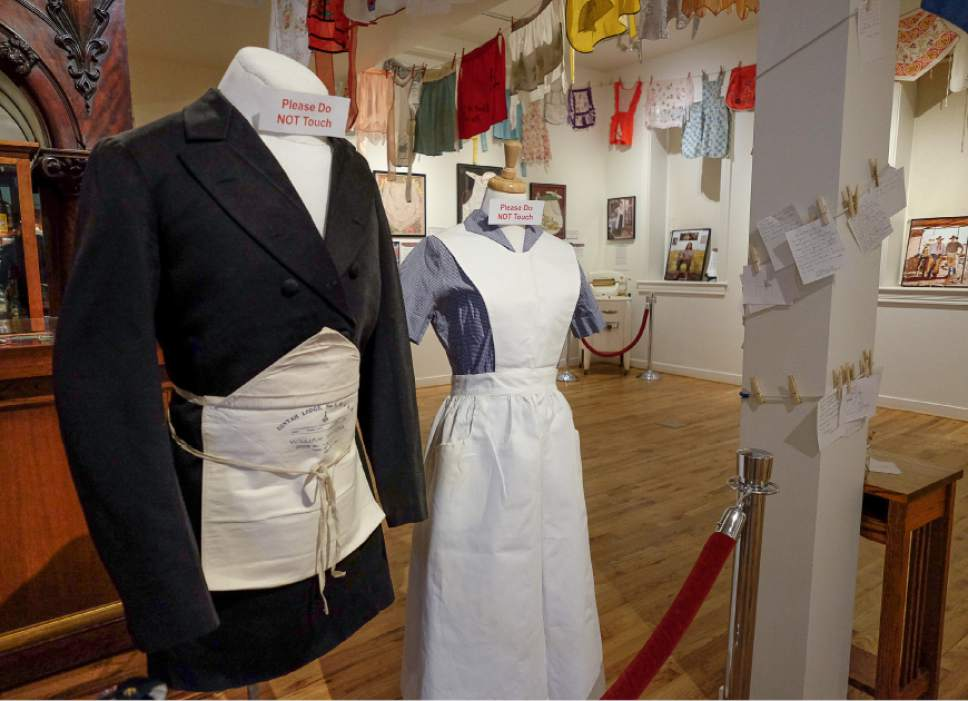 "Francisco Kjolseth | The Salt Lake Tribune The Park City Museum hosts the ""Apron Chronicles: A Patchwork of American Recollections."" The exhibit features 100 vintage aprons as well as stories/memories behind this domestic icon. The storytellers include a 111-year-old mother and her only child, a Holocaust survivor and a biology professor from Africa."