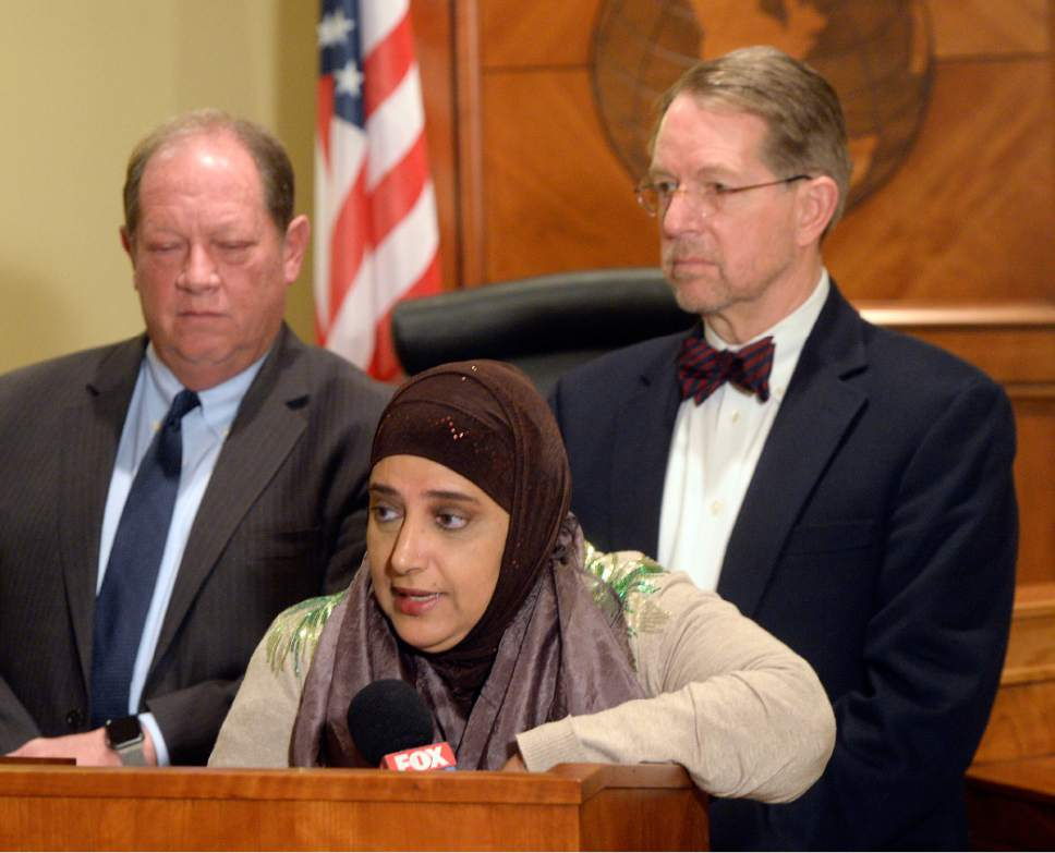 Al Hartmann  |  The Salt Lake Tribune Attorneys Brad Parker, left, and James McConkie join Noor Ul-Hasan, a Muslim community leader, to announce that a diverse, nonpartisan group of attorneys and other professionals from around the state have formed the Refugee Justice League of Utah. The new organization is dedicated to promoting and defending the civil, religious, and constitutional rights of persons who are discriminated against on the basis of their religious beliefs and national origins.