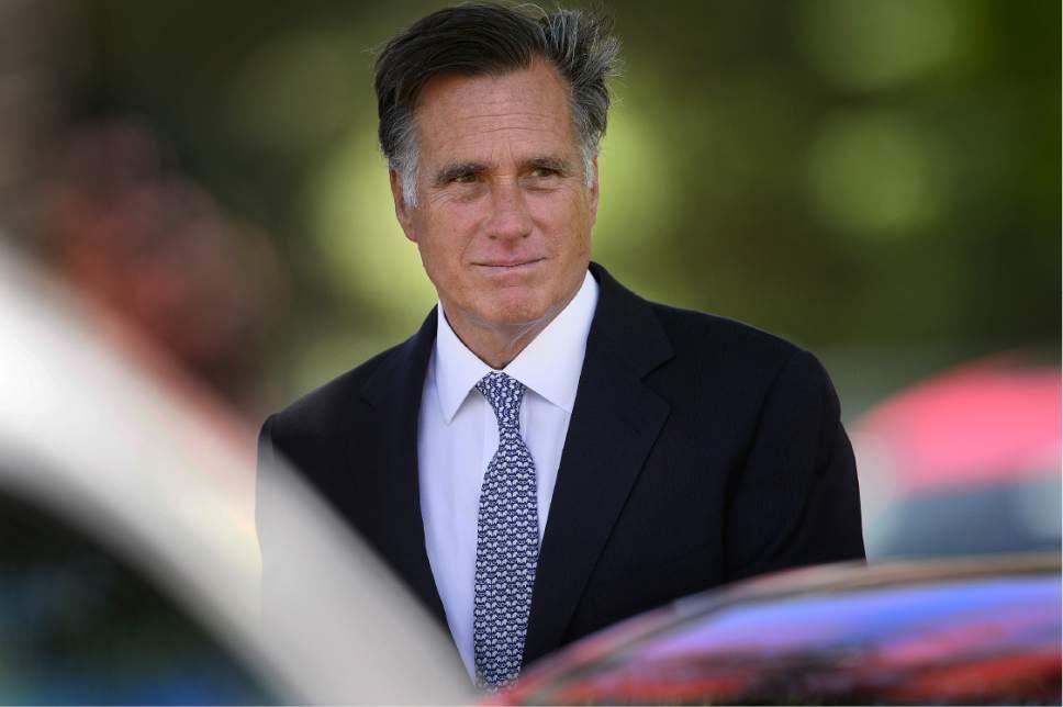 Scott Sommerdorf   |  The Salt Lake Tribune   Mitt Romney leaves the funeral services for former U.S. Senator Bob Bennett. Interment was at the Salt Lake City Cemetery, Saturday, May 14, 2016.