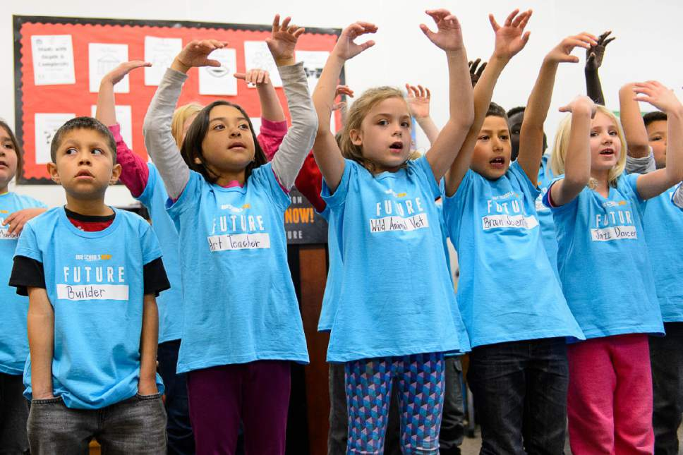 Trent Nelson  |  The Salt Lake Tribune Second graders at Washington Elementary School sing a song at a press conference announcing the launch of a ballot initiative for an income tax increase to fund schools during the 2018 election, Tuesday November 29, 2016.