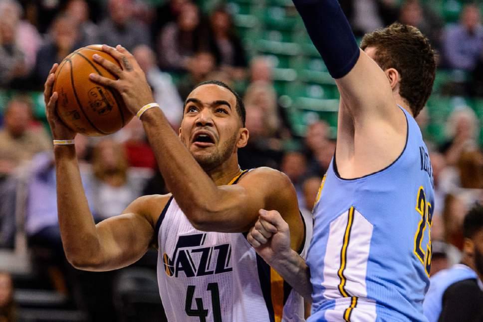 Trent Nelson  |  The Salt Lake Tribune Utah Jazz forward Trey Lyles (41) puts up a shot as the Utah Jazz host the Denver Nuggets in Salt Lake City, Wednesday November 23, 2016.