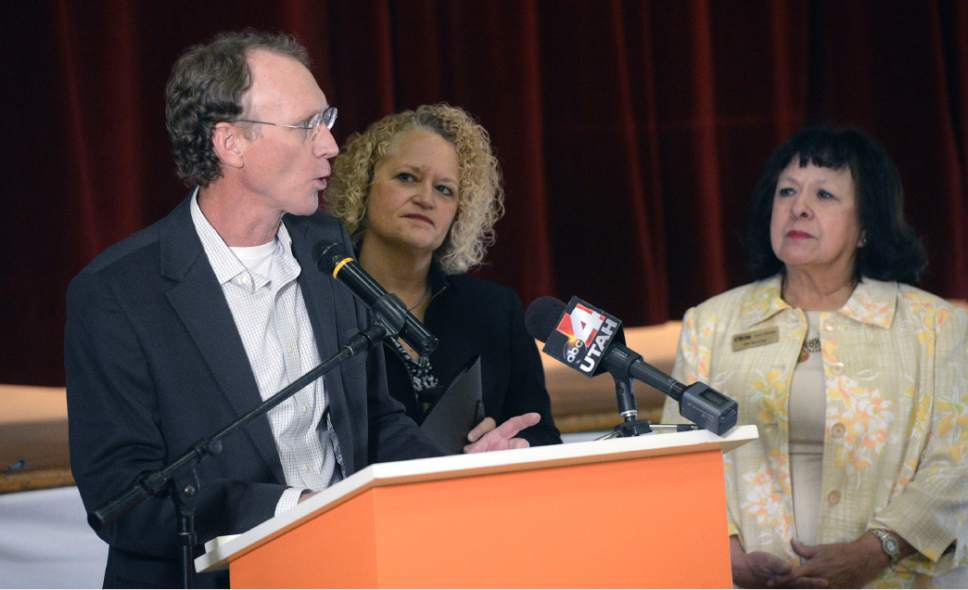 Al Hartmann     The Salt Lake Tribune Shaun McGrath, Environmental Protection Agency Regional Adminstrator, left, with Salt Lake Mayor Jackie Biskupski and Centro Civico Mexican Chair Brandy Farmer speak at event for the renovation of the  Centro Civico Mexicano at 155 South 600 West in Salt Lake City on Tuesday.