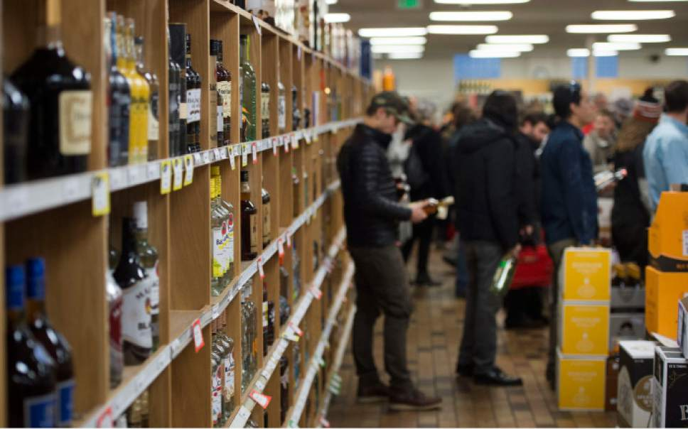 Steve Griffin / The Salt Lake Tribune   Thanksgiving shoppers form lines at the Sugarhouse State Liquor store in Salt Lake City Wednesday November 23, 2016.