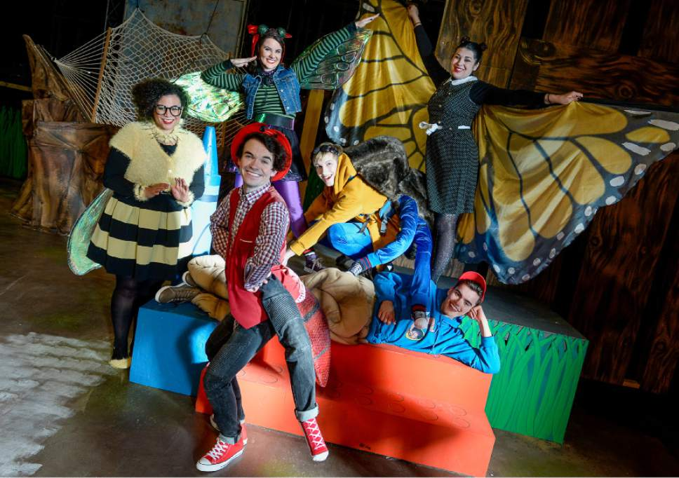 "Francisco Kjolseth | The Salt Lake Tribune SLAC's annual holiday children's show brings to life the ""Diary of a Worm, a Spider and a Fly.""  Clockwise from left, Alicia M. Washington, Emilie Starr, Micki Martinez, Sky Kawai, Cameron Fleck and Joseph Paul Branca are sure to entertain the kids."