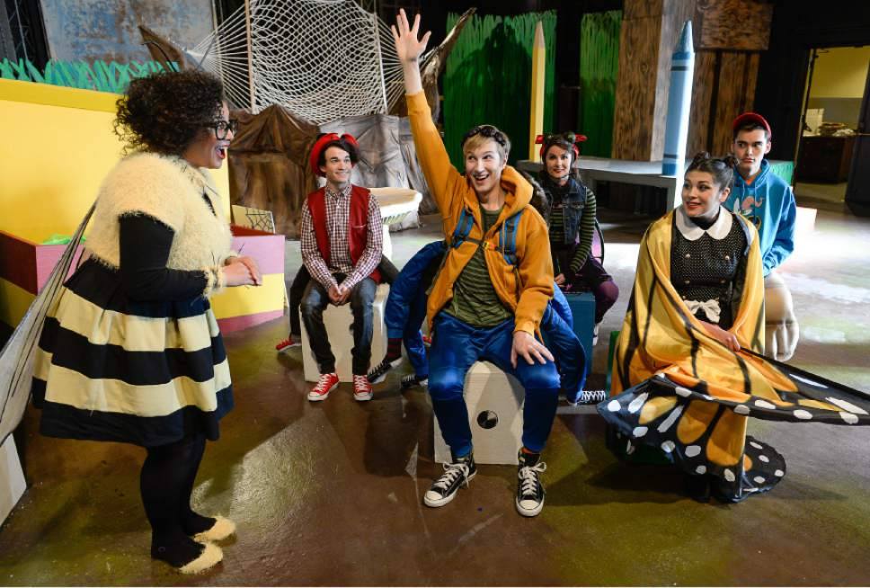"Francisco Kjolseth | The Salt Lake Tribune SLAC's annual holiday children's show brings to life the ""Diary of a Worm, a Spider and a Fly."" Actors from left, Mrs. McBee, Alicia M. Washington; Ant, Joseph Paul Branca, Spider, Cameron Fleck; Fly, Emilie Starr; Butterfly, Micki Martinez and Worm, Sky Kawai."
