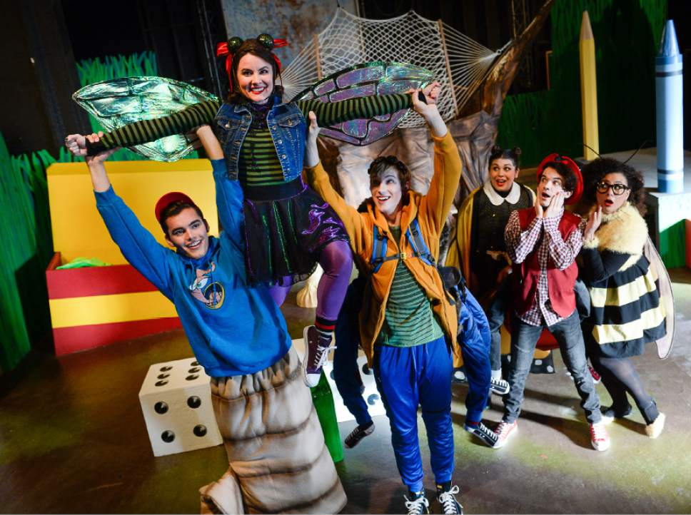 "Francisco Kjolseth | The Salt Lake Tribune From left, Sky Kawai, Emilie Starr, Cameron Fleck, Micki Martinez, Joseph Paul Branca and Alicia M. Washington round out the cast of  ""Diary of a Worm, a Spider and a Fly,""  Salt Lake Acting Company's offering as part of its annual children's production."