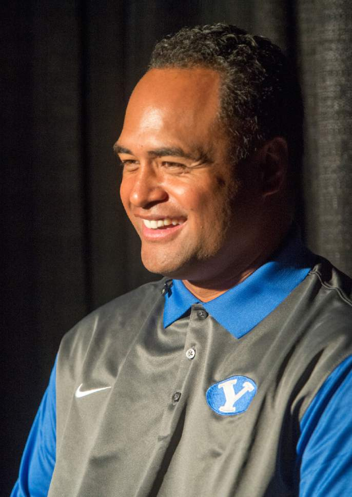 Rick Egan  |  The Salt Lake Tribune  BYU Running Backs Coach Reno Mahe, smiles during the annual football media day at the Broadcasting Building,Thursday, June 30, 2016.