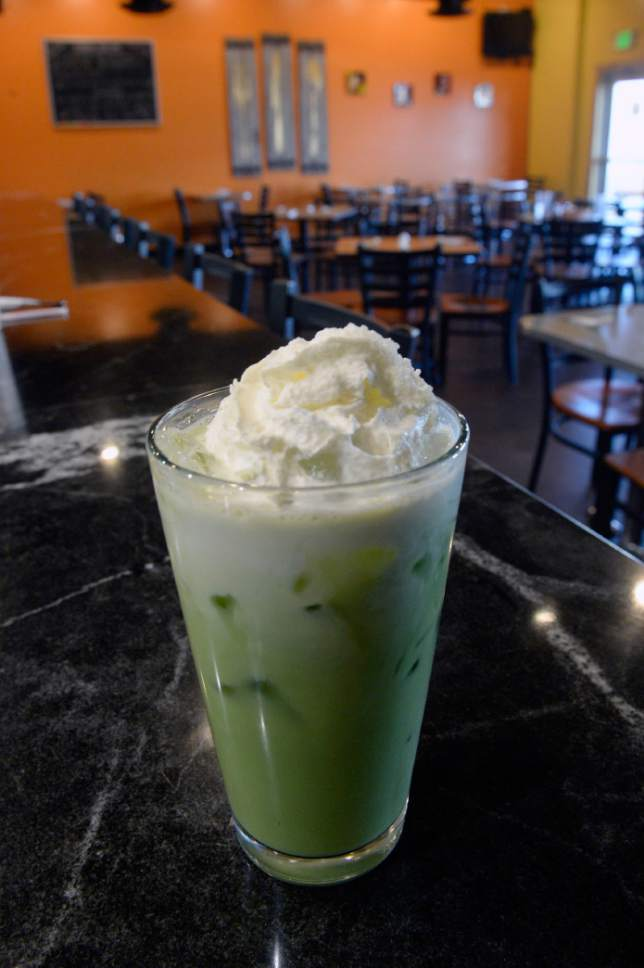 Al Hartmann  |  The Salt Lake Tribune Milk Green Tea at Zabb Noodles in South Salt Lake.