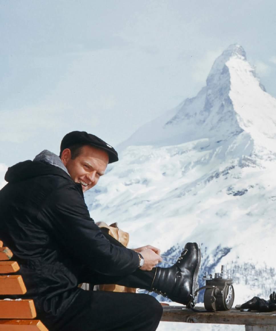 Warren Miller near the Matterhorn. Courtesy     Warren Miller Enertertainment