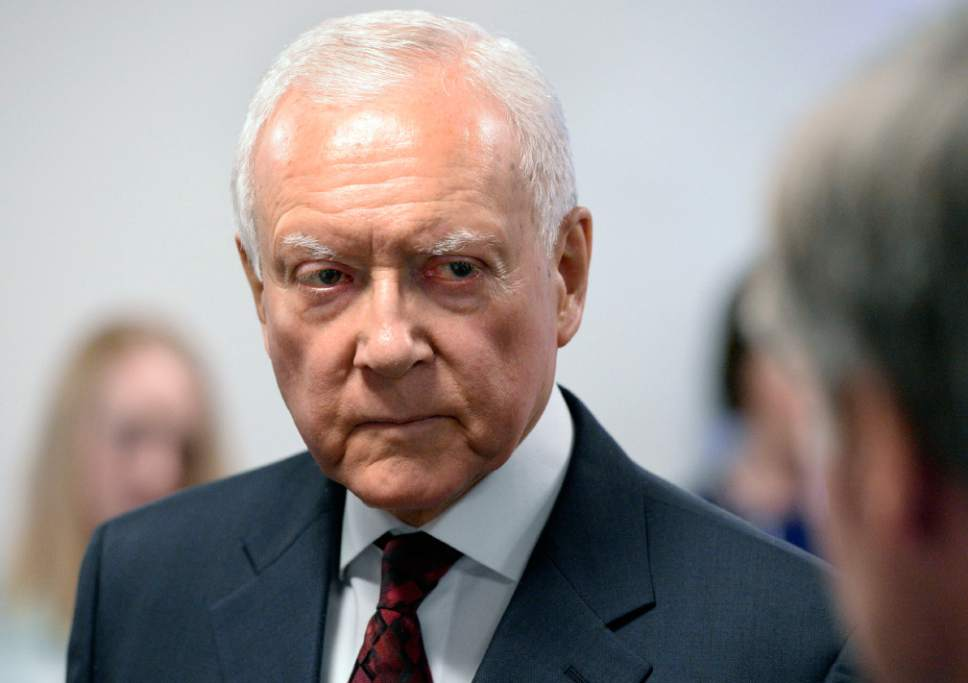 Al Hartmann  |  Tribune file photo Sen. Orrin Hatch, R-Utah, acted as a Donald Trump surrogate in Cleveland this summer during the Republican National Convention, urging delegates to back Donald Trump as the presidential nominee.